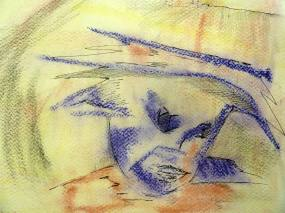 Wet paper and pastel.