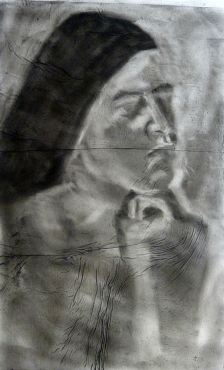 Charcoal drawing over Chine Collé, giving the drawing extra texture.