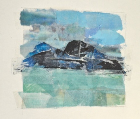 Landscape painting with only tape transfer. Not a watercolour in sight!